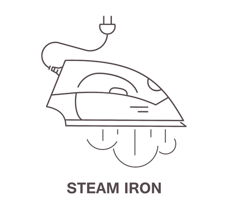 hot woman: Simple icon iron with steam, vector illustration. Illustration