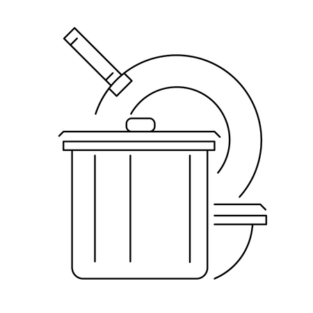 cookware: Kitchen cookware line icon or logo, vector illustration.