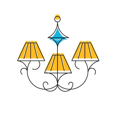 hanging lamp: Vector illustration of Chandelier line icon, hanging lamp logo.