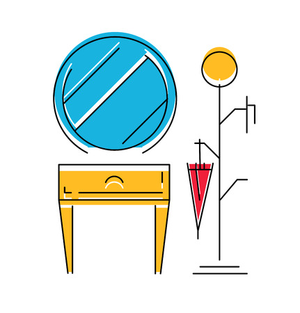 stools: Icon of Hall room interior. Modern furniture for hall. Vector illustration.