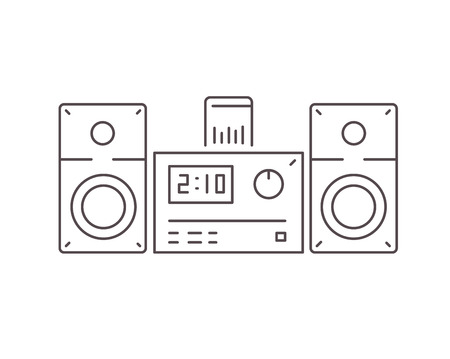 dock: Icon of modern stereo system with dock station for smartphone. Line style.