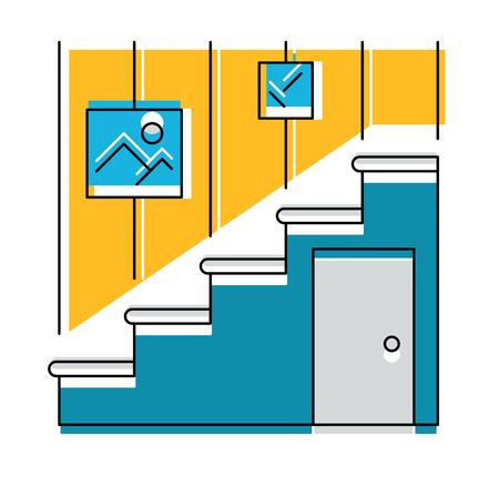 hallway: Interior hallway and stair, logo or icon, vector illustration