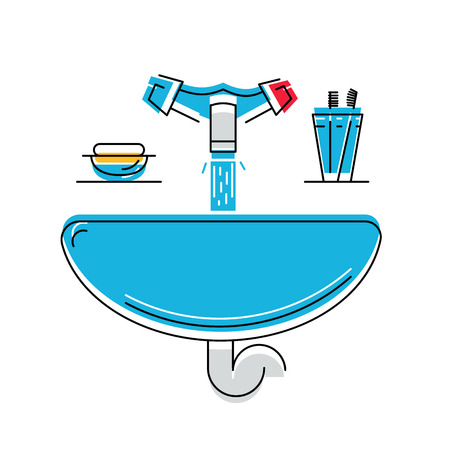 washbowl: Bathroom sink with soap and toothbrushes, line style vector illustration, personal hygiene.
