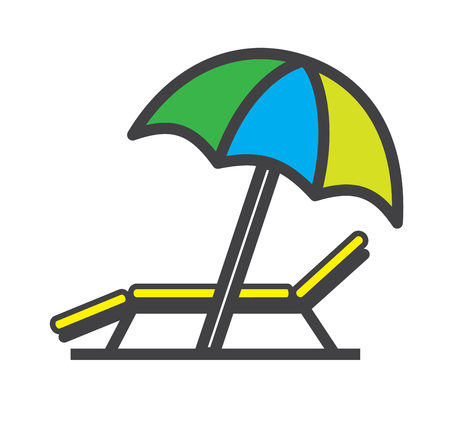 daybed: Lounger Beach Sunbed Chair flat icon, vector.