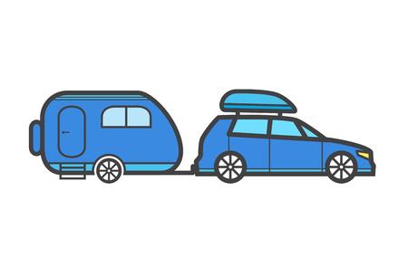 rv: Traveler truck flat vector icon. Family trailer summer trip concept Illustration