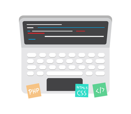 editor: Programming and coding icon, website development on laptop screen.