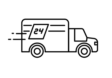 industrial vehicle: Fast delivery 24 hours truck logo or icon.
