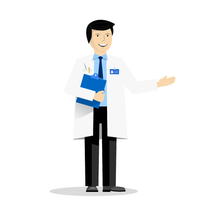 researches: The doctor with blue folder pointing on something. Illustration