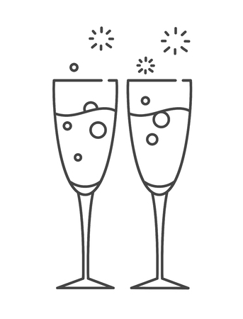 clink: Two glasses of champagne. Icon in the line style.