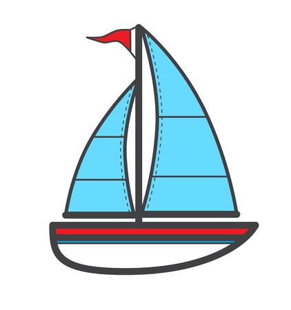Vector illustration of sailing ship, logo or icon. Vectores