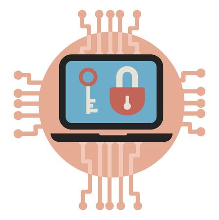 illustrarion vector de cifrado y protección de datos.