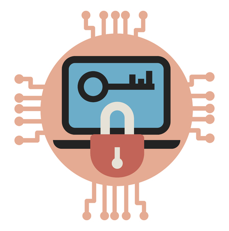 Vector illustrarion of Data encryption and protection. Illustration