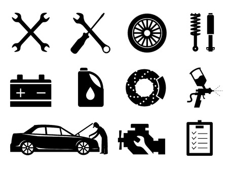 Car maintenance and repair icon set, vector. 矢量图像