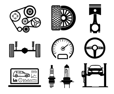 black belt: Car maintenance and repair icon set, vector. Illustration