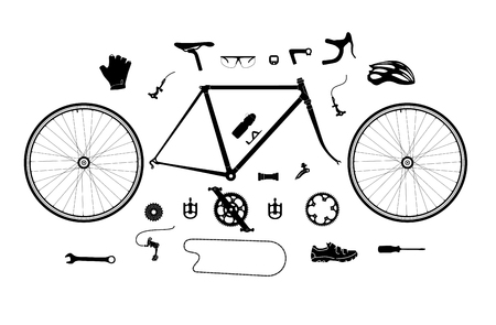 bicicleta: piezas de bicicleta de carretera y conjunto de accesorios, elementos para la silueta infografía y etc.