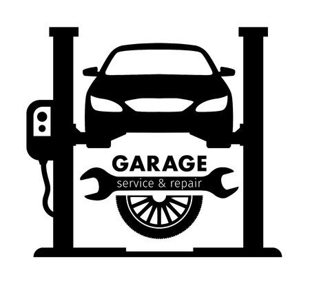 Centrado automático, servicio de garaje y el logotipo de la reparación, plantilla de vectores Foto de archivo - 56651179