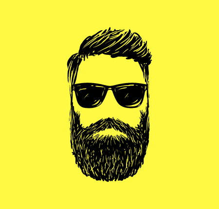 symbol icon: Hipster fashion man hair and beards, Hand drawn vector illustration.