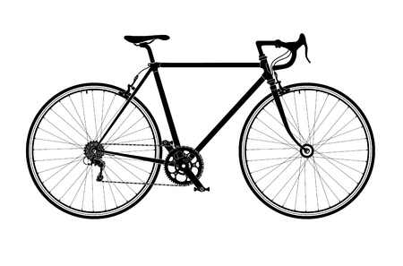 Classic mens town, road bike silhouette, detailed vector illustration.