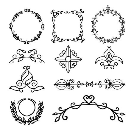 separators: Hand drawn decoration elements, frames, page divider and border elements vector illustration with all separated elements for your design.