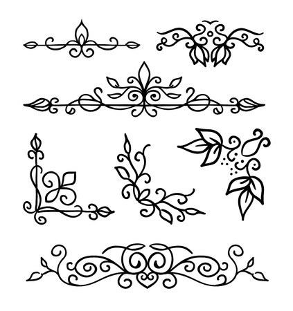 Hand drawn decoration elements, frames, page divider and border elements vector illustration with all separated elements for your design.