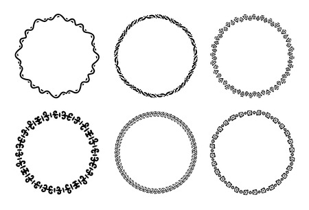 Collection of round decorative frames and labels with lines, symmetric geometric shapes .