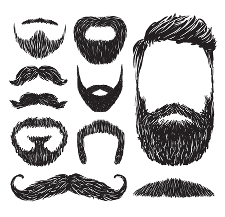 sideburn: Set of mustache and beard silhouettes, vector illustration.