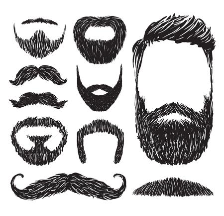 Zestaw wąsy i broda sylwetki, ilustracji wektorowych.