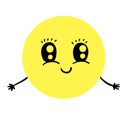 exited: Cute smiling emoticon offering hugs