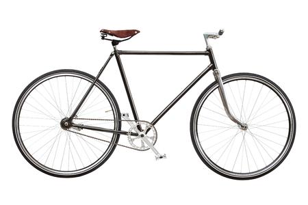 Vintage custom singlespeed bicycle isolated on white background.