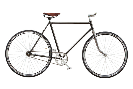 Vintage custom singlespeed bicycle isolated on white background.