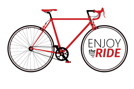 lady: Classic mens town, road bike with enjoy the ride title, detailed illustration for card, t-shirt, etc