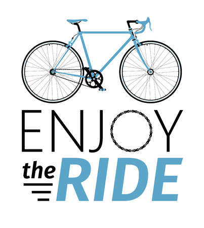 peddle: Classic men town, road bike with enjoy the ride title, detailed vector illustration for card, t-shirt, etc Illustration