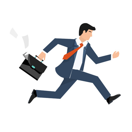 Flat style vector illustration of a businessman running, business concept Vettoriali