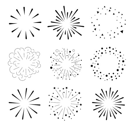 ray of light: Set of Sparkles and Bursts. Minimal design. Geometric Shapes and Light Ray Collection.