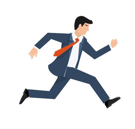 ilustración vectorial de estilo plano de un hombre de negocios en funcionamiento, concepto de negocio.