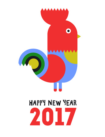 vector greeting card: Happy New Year of the red Rooster, greeting card. Vector illustration