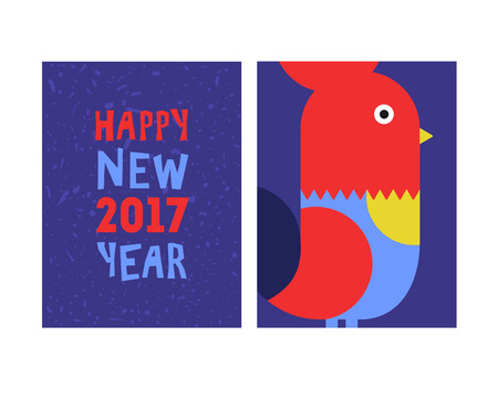 auspicious sign: 2017 Happy New Year greeting card. Year of the red Rooster Illustration