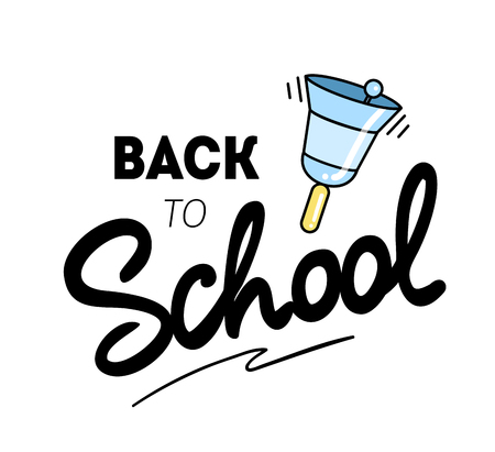 Back to school  with a school bell. Vector illustration