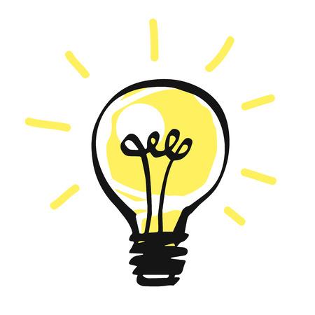 idea icon: Vector light bulb icon on white, idea concept.