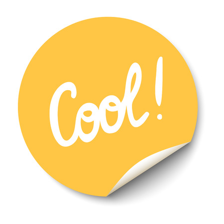 Vector orange circle sticker with curled corner and Cool text inside.