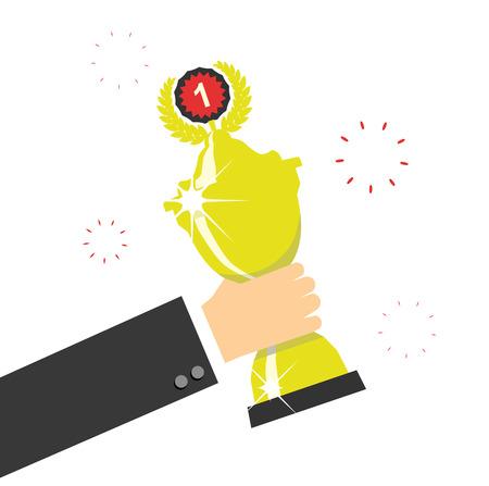 commendation: Hand holding winners trophy award. Vector illustration.