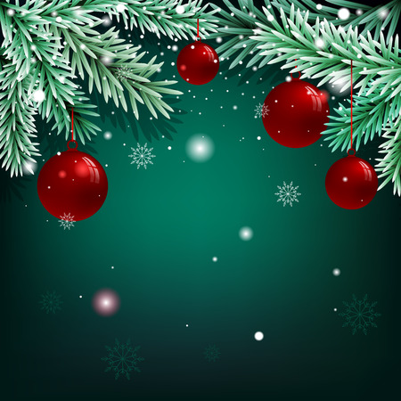 spruce: Christmas green background with fir branches and balls. Stock Photo