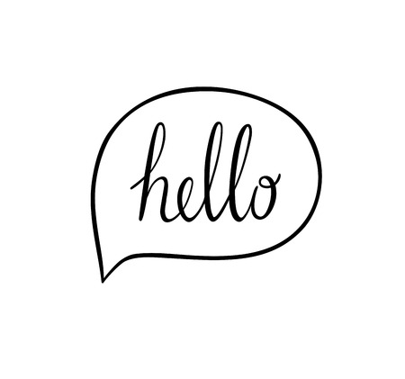 chat icon: Speech bubbles with hello word, hand drawn vector.