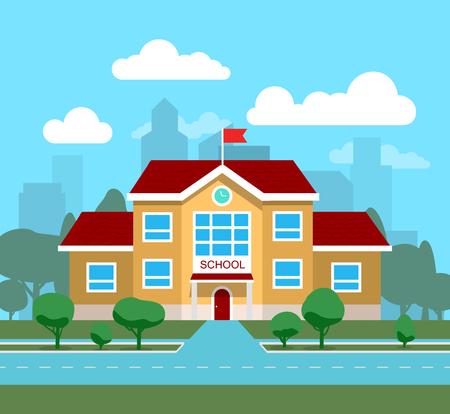 Vector illustration of school building, for poster or banner, etc. Illustration