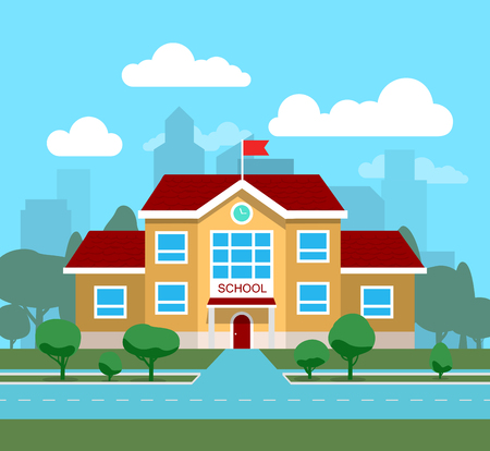 Vector illustration of school building, for poster or banner, etc. Ilustrace