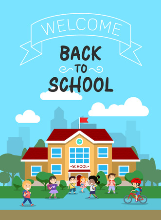 Vector illustration of school building with schoolkids, for poster or banner, etc