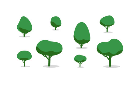 bush: Set of different trees with shadows, simple style. vector illustration. Illustration