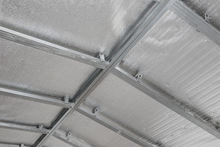 gypsum: Suspended ceiling of the attic with reflective heat barrier.