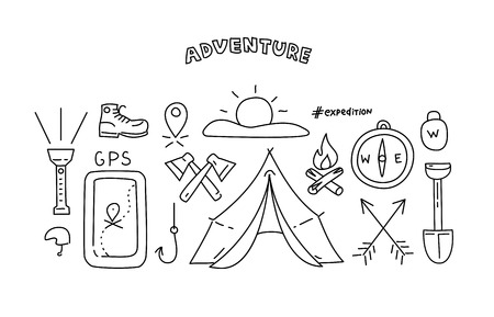 eco tourism: Line style objects for adventure and travel. illustration.
