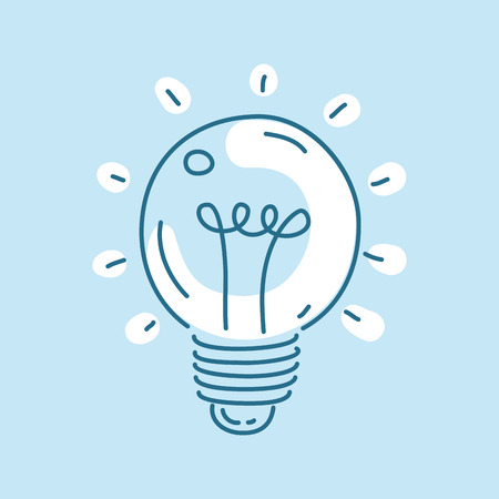 creativity concept: bulb icon. Concept of creativity and innovation. Line art style.